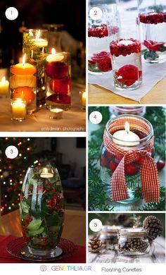 κερια που επιπλεουν-χριστουγεννιατικη διακοσμηση-genethlia.gr