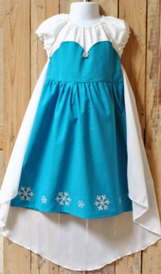 Frozen Inspired Elsa Peasant Dress with Cape Frozen Fan