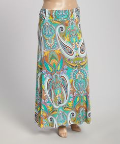 Love this Green Paisley Maxi Skirt - Plus on #zulily! #zulilyfinds