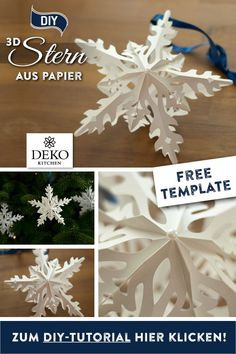 DIY: beautiful poinsettia to make yourself - DIY Christmas decoration: this filigree Christmas star is a wonderful highlight for any Advent deco - Christmas Star, Christmas Crafts, Christmas Ornaments, Diy Christmas Decorations, Holiday Decor, Diy Paper, Paper Crafts, Diy And Crafts, Crafts For Kids