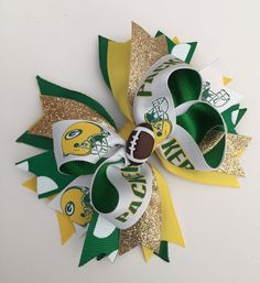 Green Bay Packers NFL Football Hair Bow Green by AurorasBowtique