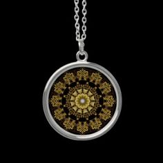 A Golden Fractal Fantasy Sterling Silver Necklace  If You Like The Metallic Color Of Gold, You're Sure To Like A Golden Fractal Fantasy Kaleidoscope Ring With It's Beautiful Reflective Gold Patterns Fitting Nicely And Naturally In A Round Sterling Silver Necklace Enclosure.  $29.95