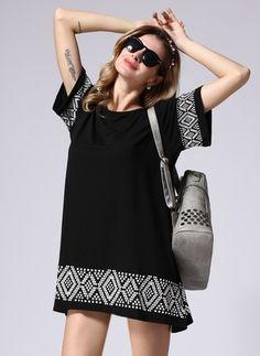 Cotton Geometric Short Sleeve Mini Casual Dresses (1029248) @ floryday.com