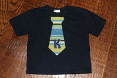 Boys Tie T Shirt Letter Tee - Initial in a coordinating fabric - 6m 12m 18m 24m 2t 3t 4t 5t - boys appliqué custom embroidery