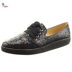 Sopily - Chaussure Mode Baskets Cheville femmes Brillant pailettes Talon bloc 2 CM - Noir - CAT-4-LU1505 T 40 - Chaussures sopily (*Partner-Link)
