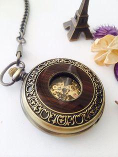 Mechanical Pocket Watch Bronze and Wood Watch by Victorianstudio, $44.98