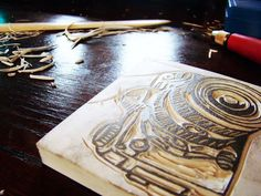 Stamp carving tutorial. could just carve it and make it art!
