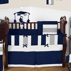 Navy Blue and Gray Stripe Baby Bedding - 9pc Crib Set by Sweet Jojo Designs