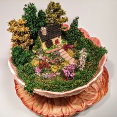 This is actually a candy dish, just goes to show you any container will work to make a fairy garden. Tea Cup Art, Coffee Cup Art, Tea Cups, Mini Fairy Garden, Fairy Garden Houses, Fairy Gardening, Teacup Crafts, Dish Garden, Garden Terrarium
