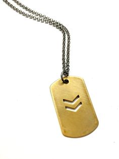 Cool Mens Necklace. Military Dog Tag Chevron by pearlatplay