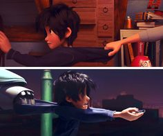 How Tadashi and Baymax pull Hiro back!!!<< I'm pretty sure that was the first thing Tadashi programmed in Baymax. Catching Hiro by the hood of his jacket.