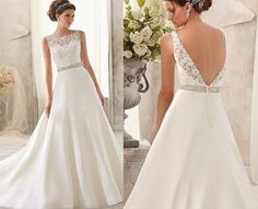 Pretty dress but probably doesn't suit my body-Classic Aline wedding dress lace round neck halter bride by MY168, $169.00
