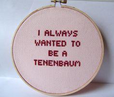 Royal Tenenbaum needlepoint.