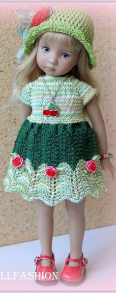 Effner Knitting Dolls Clothes, Crochet Doll Clothes, Knitted Dolls, Girl Doll Clothes, Crochet Dolls, Barbie Clothes, Crochet Baby, Dolly Fashion, Doll Dress Patterns