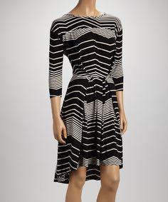 Black Stripes Three-Quarter Sleeve Dress