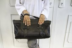 Black Leather Tote Bag  / Women Purse / by EllenRubenBagsShoes