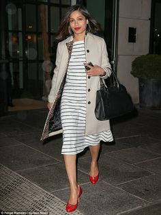Make way: Freida Pinto looked absolutely sensational as she stepped out in New York City on Thursday evening