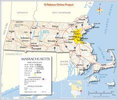 Political Map Of Massachusetts Ezilon Maps Massachutes - Massachusetts political map