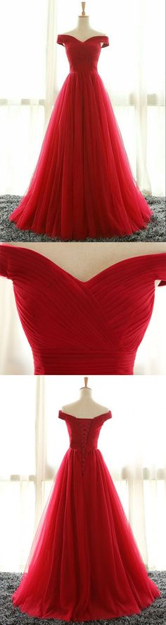 Red A line tulle off shoulder long prom dress, red evening dress, red bridesmaid dress