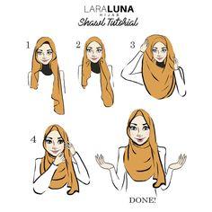 LARA Luna Illustration by Namirahsketches – Hijab Fashion 2020 Square Hijab Tutorial, Simple Hijab Tutorial, Hijab Style Tutorial, Stylish Hijab, Casual Hijab Outfit, Hijab Turban Style, How To Wear Hijab, Pakistani Bridal Makeup, Girly Drawings