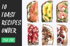 Here are 19 sweet, savory and scrumptious toast recipes that you can enjoy at breakfast, lunch and dinner (or even at snack time) — all for 250 calories or less! Delicious Vegan Recipes, Easy Healthy Recipes, Healthy Snacks, Vegetarian Recipes, Healthy Eating, Cooking Recipes, Clean Eating, Cooking Ham, Cooking Beets