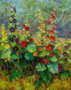 Oil Painting For Sale, Garden Painting, Paintings For Sale, Painting & Drawing, Watercolor Paintings, Oil Paintings, Hollyhocks Flowers, Illustration Art, Illustrations