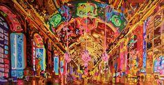 SALON DE LOS ESPEJOS  Palacio de Versalles - Paris  CURVISMO  Acrilico italiano sobre lienzo  1.80m x 0.95 m  CARLOS VILLABON