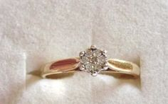 Vintage Diamond Flower Ring/9K Yellow by EclairJewelry on Etsy, $147.00