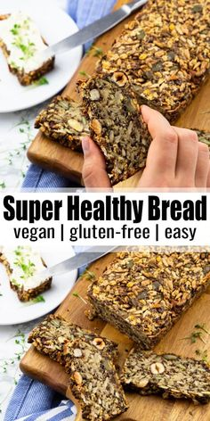 This vegan bread is definitely the healthiest bread ever! It's gluten-free, yeast-free, and made with only oats, seeds, and nuts. And it's so easy to make! Find more vegan recipes at veganheaven.org! #vegan #veganrecipes #vegetarian Gluten Free Recipes, Vegan Recipes, Cooking Recipes, Gluten And Yeast Free Bread Recipe, Nut And Seed Bread Recipe, High Fiber Bread Recipe, Gluten Free Vegan, Healthy Bread Recipes, Healthy Baking