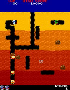 Dig Dug by Namco. The game was also released by Atari for home computers and became a top seller. Vintage Video Games, Classic Video Games, Retro Video Games, Retro Games, Playstation, Old Computers, Old Video, Ol Days, Gaming Computer