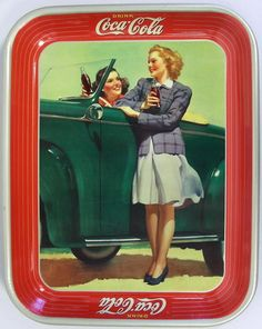 Vtg Orig 1942 Coca Cola Roadster Girls Serving Metal Tin Tray Coke Sign Ad   eBay