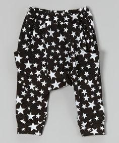 Take a look at this Leighton Alexander Black Star Harem Pants - Toddler today!