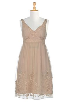 I <3 this Floral beaded empire tulle dress from eShakti