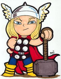 Thor is TM & (C) Marvel. Avengers Cartoon, Baby Avengers, Marvel Comics Superheroes, Marvel Characters, Marvel Heroes, Marvel Avengers, Comic Books Art, Comic Art, Thor Drawing