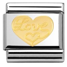 Nomination Gold Love Heart Charm  - Click to view larger image
