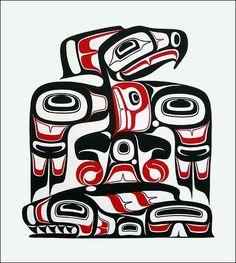 Eagle with Salmon — Freda Diesing Thunderbird and Whale — Doug Zilke So today, I discovered Native Canadian Art, also know as Haida . Haida Kunst, Arte Haida, Haida Art, Haida Tattoo, 4 Tattoo, Native Canadian, Canadian Art, American Indian Art, Native American Art