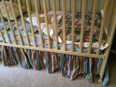 Handmade crib skirt in Jungle Babies stripe by MyEclecticTreasure
