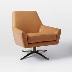 Lucas Leather Swivel Base Chair #westelm