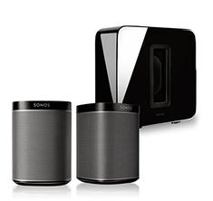 Sonos (Black, Pair) Multi-Room Digital Music System Bundle & Sonos Wireless SUB (Black) Sonos Wireless, Sonos Speakers, Sonos Play 1, Music System, Stereo Headphones, All In One, Digital, Compact, Audio