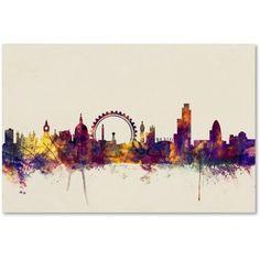Trademark Fine Art London England Skyline Canvas Art by Michael Tompsett, Size: 16 x 24, Purple