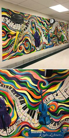 Wall Decor For Your Living Room Music Mural by Nora Kate Paints at Bell-Graham Elementary School Sto Graffiti Wall Art, Mural Art, Wall Murals, Music Wall, Art Music, Hallway Displays, Band Rooms, Garden Mural, School Murals