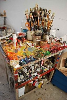 Obviously a well used table in this art studio. Photo from for ARTS SAKE: Archive