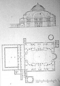 Planta y alzado de Santa Sofía de Constantinopla, años 532-537.