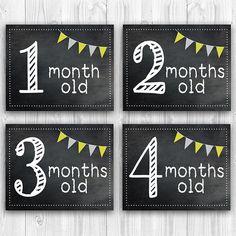 PRINTABLE Baby Milestone Cards/ Chalkboard Month por snapsofgreen
