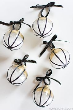 Elegant black and gold DIY ornament wedding favors.
