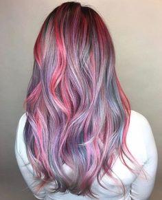 Rose Hair Color, Unicorn Hair Color, Hair Color Streaks, Color For Long Hair, Long Hair Colors, Unique Hair Color, Exotic Hair Color, Funky Hair Colors, Pretty Hair Color
