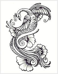 Henna peacock tattoo idea- good if for henna-inspired half sleeve Henna Peacock, Peacock Tattoo, Peacock Art, Peacock Design, White Peacock, Tatto Ink, Tatoo Henna, Henna Art, Tattoo Hip