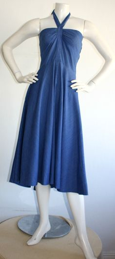 For Sale on - Super chic vintage Guy Laroche cotton halter dress! Vibrant blue color, with thin faint white stripes (in chevron print). Ruching on bodice adds just the Guy Laroche, Rockabilly, Bodice, Evening Dresses, Mermaids, Cotton, Blue, Clothes, Vintage