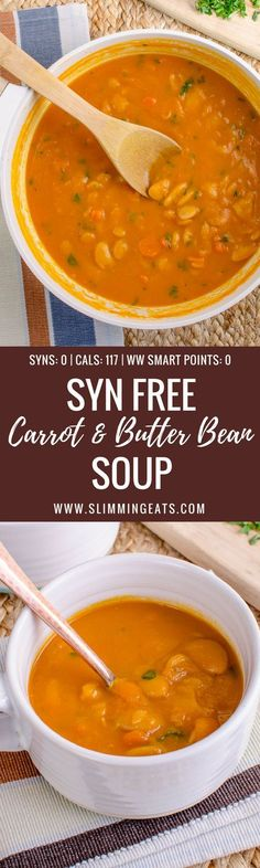 for a simple, quick and delicious soup to make? This Syn Free Carrot and Butter Bean Soup is super easy to make and perfectly comforting Vegan Slimming World, Slimming World Recipes Syn Free, Slimming Eats, Steak Recipes, Potato Recipes, Soup Recipes, Cooking Recipes, Hallumi Recipes, Hotdish Recipes