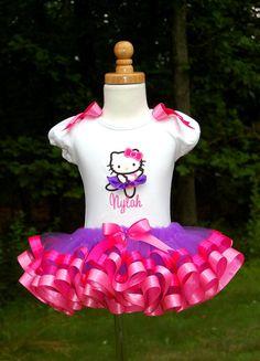 Hello Kitty Ribbon Trim Tutu Set with by lilabbehandmade on Etsy